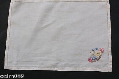 Vintage cream linen embroidered basket of flowers tray cloth.