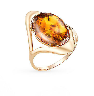 Russian solid rose gold 585 /14k Gold ring with amber.