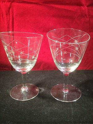 Pair Of Edwardian Glass Angle Rimmed Wheeled Engraved Wine Glasses