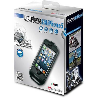 Motorcycle Interphone Iphone 5 Holder For Tubular Handlebars Black UK Seller