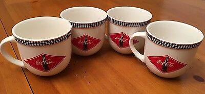 Set of 4 Gibson Checkered Diner Coca Cola Coffee Large Cups Mugs Wide Rounded