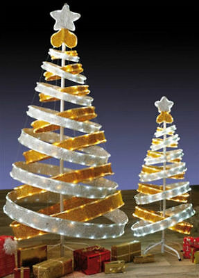 6ft Outdoor Gold silver White Pop Up Spiral Christmas Tree LED Lights Decoration