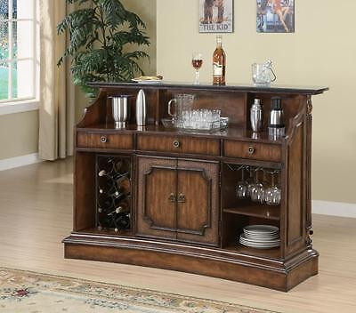 Coaster 100173 Traditional Marble Top Bar Unit In Warm Brown