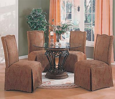 Coaster 120031 190042 Five Piece Round Dining Table Set Parson Chairs