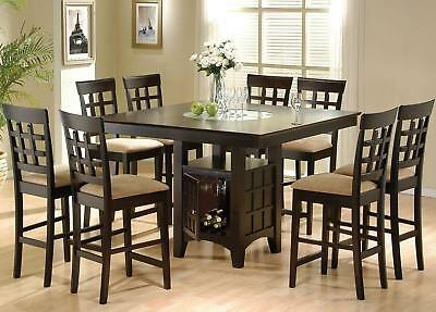 9PC Square Counter Height Dining Table Set With Glass Lazy Susan