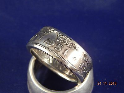 1951 Coin Ring Size  - X Double Sided British Half Crown   #HC512309
