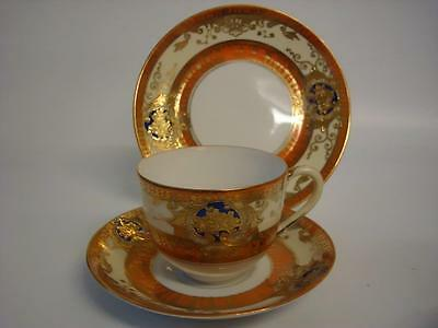 Vintage Noritake Orange Cream & Cobalt Blue Flowers  Gilded Trio