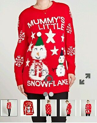 LIMITED STOCK Maternity Christmas Jumper Mummys Little Snowflake L AND XL Xmas