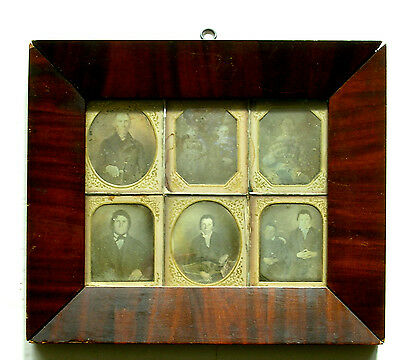 Vintage/EARLY Multiple Daguerreotype Wallframe w/Paper Matted Images