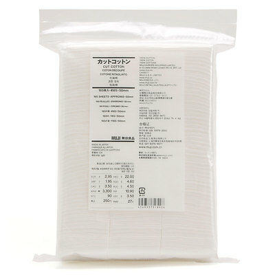 Muji Organic Facial Cut Cotton pad puff 165 sheets 65x50mm Made in Japan