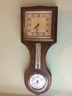 Garrard Oak Wall Clock Platform Movement & Barometer,Thermometer Made in England