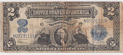 $2 Silver Certificate Series of 1899 Large Currency Note Mini Porthole