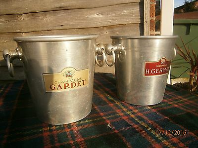 French Vintage Metal Champagne Ice Champagne/Wine Ice Bucket Silver Champagne x2