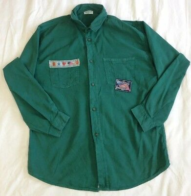 kids VINTAGE benetton shirt - L - large - green - 100% Cotton - top - chest 38""