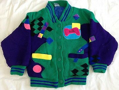 Kids retro honey cardigan - 9 to 10 years - vintage - acrylic - jumper - top