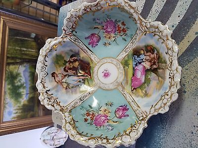 gorgeous antique hand painted Dresden style 9in Austrian bowl