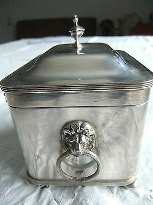 Vtg Sarcophagus Form Lion&ring Silver Plated Metal Small Hinged Box Italy Mark ♡