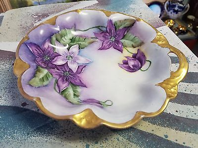 stunning antique hand painted Limoges bowl