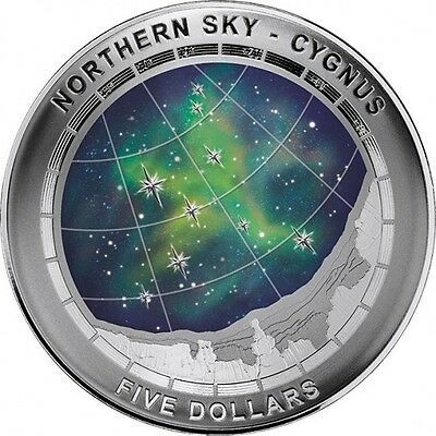 2016 $5 Northern Sky Cygnus Coloured Fine Silver Proof Domed Coin