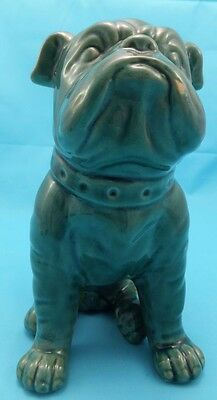 "Vintage English Bull Dog Green Glazed 8"" Ornament Collectable Ceramic Figure"