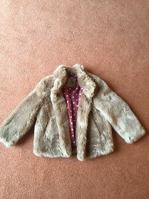 Next Girls Faux Fur Coat Age 3-4 Years