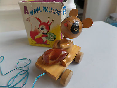 Vintage Red China WOOD ANIMAL TRAINER  WP 357 Wooden Pull Toy 1950's Rare Boxed!