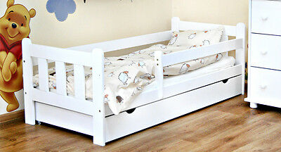 Kids Toddler Bed AMELIA Solid Wood With Mattress and Drawer WHITE COLOUR