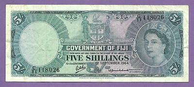 [AN] QEII Government Of  Fiji 5 Shillings 1964 P51d VF