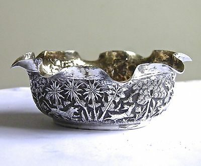 Antique Indian Silver Bowl with Lions and Elephant