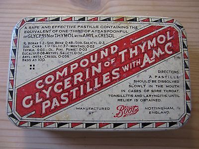 Vintage Tin - Boots Glycerin of Thymol Pastilles with AMC. Approx 1930