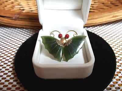 Vintage Asian Carved Jade / Jadeite + Coral Butterfly Gold Plated Pin