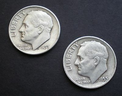 1953-D & 1953-S Lot Of Two Nice Silver Roosevelt Dimes