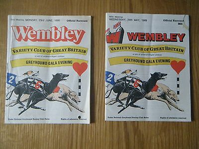 2 x  WEMBLEY ''VARIETY CLUB OF GREAT BRITAIN'' GREYHOUND  RACECARD - 1986 & 1989