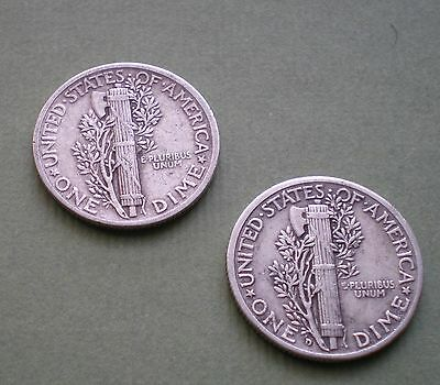 1941 & 1945-D Lot Of Two Nice  Mercury Dimes Silver