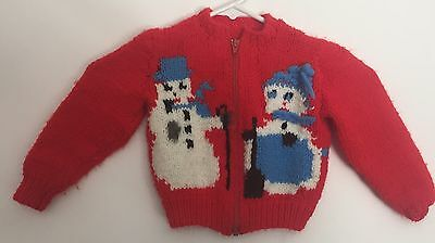 Vintage Hand Knit Red w/ 2 snowmen Zippered Baby Sweater Adorable