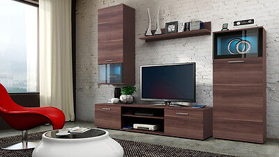wall unit furniture TV stand LED lights plum colour 4 pices set high quality.
