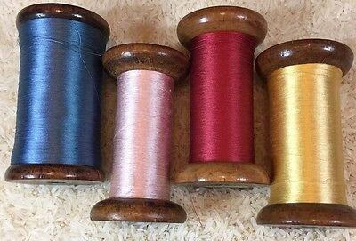 4 Vintage Scalamandra Silk Thread Wooden Spools, Gold, Red, Pink, Blue,(54)