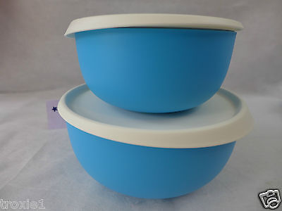Tupperware Bowls Essentials Blossom Serving Lot Of 2 With Seals Taffy Blue New