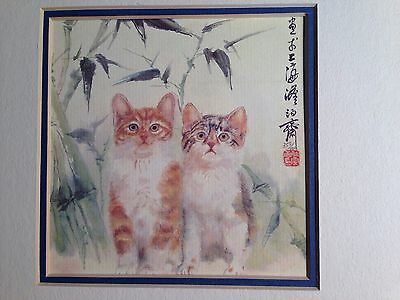 Two Kittens Cats Framed numbered print Chinese signature. Print , mat, frame