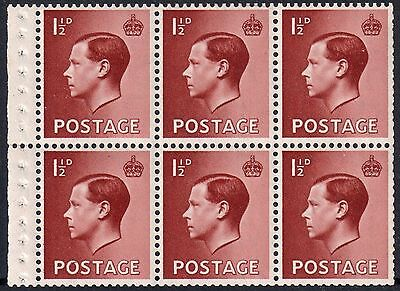 Sg459b 11/2d Red-Brown booklet pane Fresh Mint never hinged  MNH