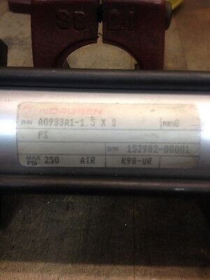 "Norgren 1 1/2"" Bore x 3"" Stroke Pneumatic Cylinder 250 psi"
