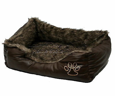 LARGE Soft Comfy REX LEATHER & FUR Washable Dog Pet Cat Warm Basket Bed D BROWN