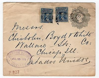 Chile: 1908 Up-Rated Postal Stationery To Usa (T332)