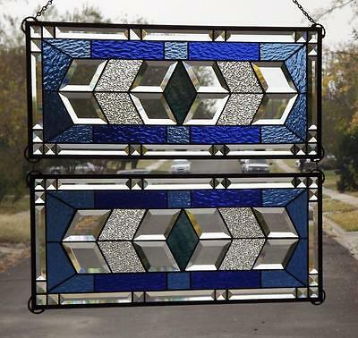 """VIBRANT with BLUE'S• Beveled Stained Glass Window Panel • 24 7/8-10 7/8"""""""