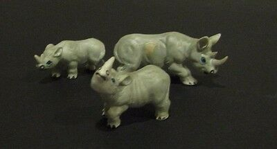 Vintage Bone China Animals Rhino Family Excellent condition 1970s