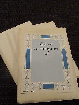200 Paper bookplates (given in memory of ) blue and white gummed back