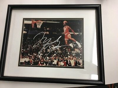 Signed Michael Jordan Foul Line Dunk Picture (framed) with Championship COA