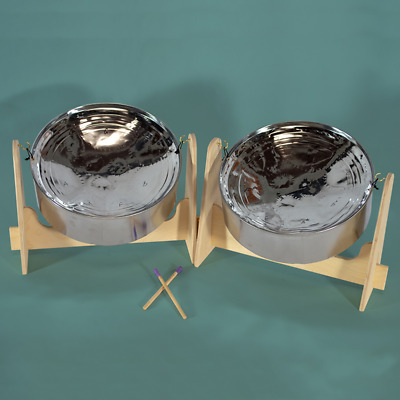Mini Double Steel Pan Drum - SALE!!! - Lowest Price!!! Chrome Finish. DRUM ONLY
