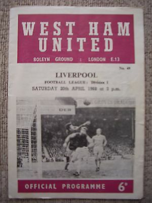 1968...WEST HAM UNITED v LIVERPOOL.....Division One......Football Programme