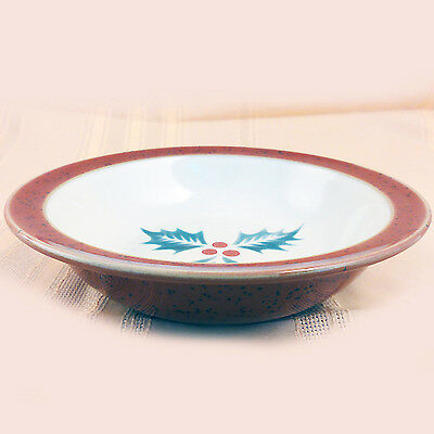 """HARLEQUIN HOLLY RED Soup Cereal Bowl 71/8"""" DENBY ENGLAND NEW NEVER USED"""